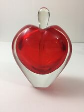 Perfume Bottle with Stopper Art Glass Red Heart Apple Hand Blown