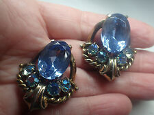 VINTAGE SHIAPERELLI BLUE RHINESTONE EARRING CLIPS  SIGNED HUGE BEAUTIES