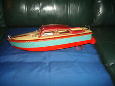 Vintage Tin Battery Operated Cabin Cruiser Boat Made in Occupied Japan 1950's