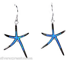 Blue Fire Opal Inlay Genuine 925 Sterling Silver Starfish Dangling Earrings