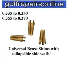 3 x BRASS GOLF SHAFT ADAPTOR SHIMS FOR METAL WOODS - CONVERTS 0.335 to 0.350