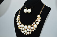 New Lady Fashion Gold-tone White Rhinestone Collar Statement Necklace w Ear-Ring