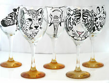 Hand Painted Safari Animal Glass, African, Elephant, Tiger, Leopard, Zebra Gift