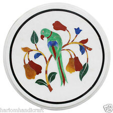 """12"""" Marble Side Coffee Center Table Inlay Semi Parrot Dining Room Decor H2332"""