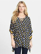 MICHAEL KORS YELLOW/BLACK Lace-Up V Neck Border Print Tunic ( MEDIUM ) NWT $120