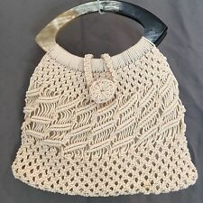 Vintage Mod Hippie Disco Macrame Woven Cream Purse Horn Handle