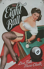 PLAQUE DECORATIVE PIN UP / EIGHT BALL -30 X 20 CM -NEUVE-DECO USA /BIKER/VINTAGE
