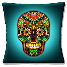 "NEW DAY OF THE DEAD SUGAR SKULL AQUA JADE MULTI COLOUR 16"" Pillow Cushion Cover"