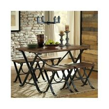 Rustic Dining Set Table 4 Stools Country Style Wood Metal 5PC Kitchen Industrial