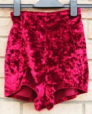 BURGUNDY VELVET HIGH WAIST SEXY PARTY CLUBBING HOT PANTS SHORTS 4 XXS