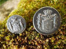 2 Anciens boutons décor blason Armoiries