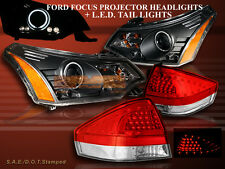 2008-2011 FORD FOCUS BLK HALO HEADLIGHTS PROJECTOR CCFL +TAIL LIGHTS RED/CLR LED