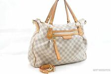 Authentic Louis Vuitton Damier Azur Evora MM Tote Shoulder Hand Bag LV 24664
