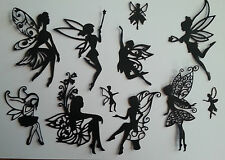 mixed fairy pack cut from black card  die-cuts scrapbooking  toppers fairy jars