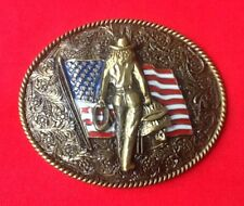 AMERICAN COWBOY RANCHER WILDWEST WESTERN RODEO FLAG FANCY DRESS BELT BUCKLE