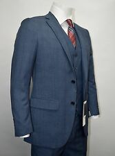 Men's 3pc Blue Slim Fit Dress Suit Size 52R NEW Suit