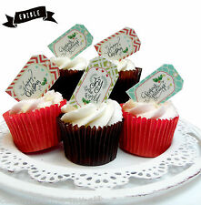 12 Christmas Gift tag Edible Pop Top Cupcake Toppers | Birthday Cake decorations