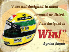 Ayrton Senna Helmet, Motorcar Racing Quote Old F1 Race Car Medium Metal/Tin Sign