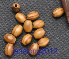 100pcs Brown Stripe Oval Wood Beads 6X8MM NH786