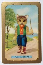 Vintage COLES Swap Card - NAMED CAT - PUSS IN BOOTS