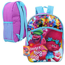 "16"" Backpack Dreamworks Trolls Poppy & Cooper School BookBag w/ Front Pocket NEW"