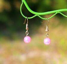 Delicate pink faux peral bead silver tone dangle pierced   EARRINGS