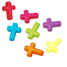 Lot of 50 Assorted Opaque Colored Plastic Acrylic Cross Shaped Beads w/2mm Hole