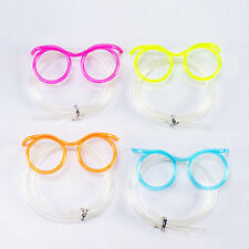 CRAZY CURLY NOVELTY CLEAR PLASTIC DRINKING STRAW GLASSES KIDS PARTY JOKE