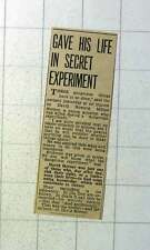 1942 David Milton Horner Young Scientist Gave Life In Secret Experiment