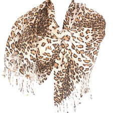 Leopard Print Pashmina Shawl Scarf Stole Charcoal Black
