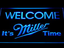 It's Miller Time Welcome Bar LED Neon Light Sign Man Cave A206-B