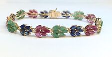 14k Yellow Solid Gold Leaf Bracelet, Natural Ruby Sapphire Emerald 19CT, 7inches