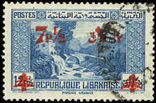 Scott # 176 - 1937 - ' Ruins of Sun Temple, Baalbak ' - Surcharged in Red