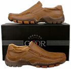 Mens New Brown Leather Lined Casual Moccasin Style Shoes Size 6 7 8 9 10 11 12