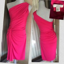 BOSTON PROPER Knot Waist Ruched One Shoulder PINK BODYCON Sexy Dress Size 8
