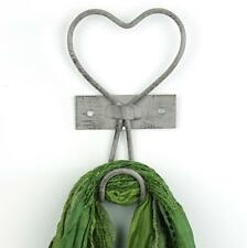 Heart coat hook hanger clothes grey vintage rustic shabby chic wall bedroom