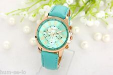 HOT SELLING GENEVA BRAND CHRONOGRAPH STYLED WOMEN'S WRIST WATCH -AQUA GREEN