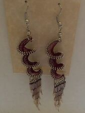 Earrings -thread Peruvian spiral- brownish shade-silver toned-dangly