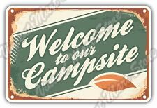 "Welcome To Campsite Camping Outdoor Travel Car Bumper Vinyl Sticker Decal 5""X4"""