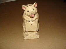VINTAGE CAST IRON PIGGY BANK ANTIQUE THRIFTY THE WISE PIG