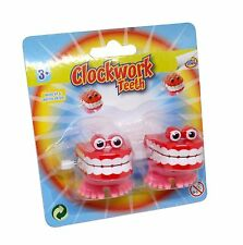 2 Clockwork Wind Up Chattering Chatter Teeth with Eyes Kids Prank Joke Funny Toy