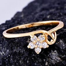 New Arrival White Topaz Ring Womens flower ring Size 8.25 Yellow Gold Filled