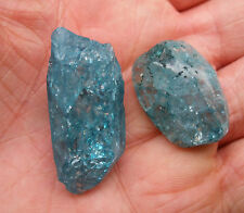 2 x GREEN CRACKLE QUARTZ - 1 ROUGH POINT * 1 POLISHED STONE - GIFT BAG & ID CARD