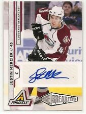 10-11 Pinnacle JUSTIN MERCIER ICE BREAKERS ROOKIE AUTO RC /299 * AVALANCHE