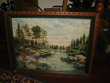 SP Geiger Oil Painting On Canvas-Man In Canoe Water River Country Framed-LQQK