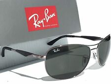 NEW* Ray Ban AVIATOR Gunmetal Matte Black w Green Lens Sunglass RB 3519 004/71