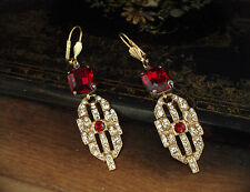 Vintage Unique Deco Emerald Cut Ruby Red Crystal Long Drop Pierced Earrings