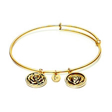 Chrysalis Rose - June Flower Expandable Bangle in 14k Gold Plate, CRBT0206GP