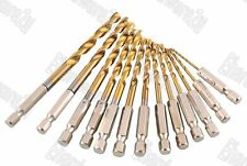"13Pcs 1/4"" Hex Shank Titanium Coated Metal Drill Bit Set 1.5-6.5mm (50RD913H)"