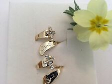 Vintage adjustable ring APRIL BIRTHDAY goldtone silver CROSS x2 Gift Party